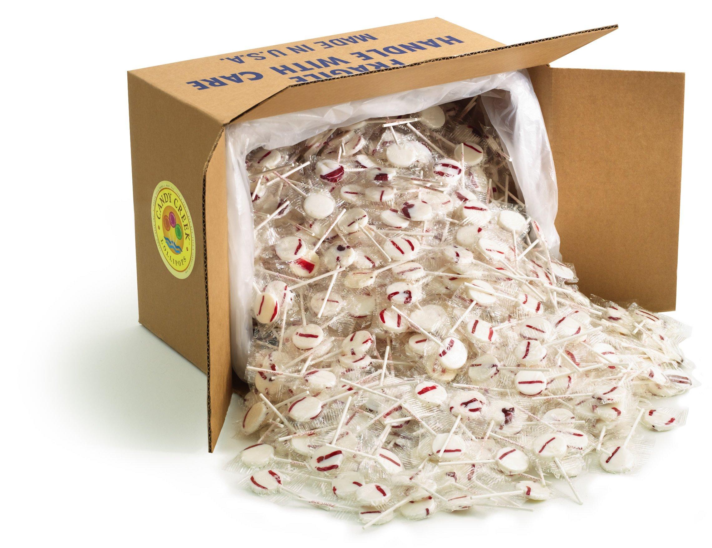 Peppermint Lollipops by Candy Creek, Bulk 18 lb. Carton, Zany Cane by Candy Creek Lollipops