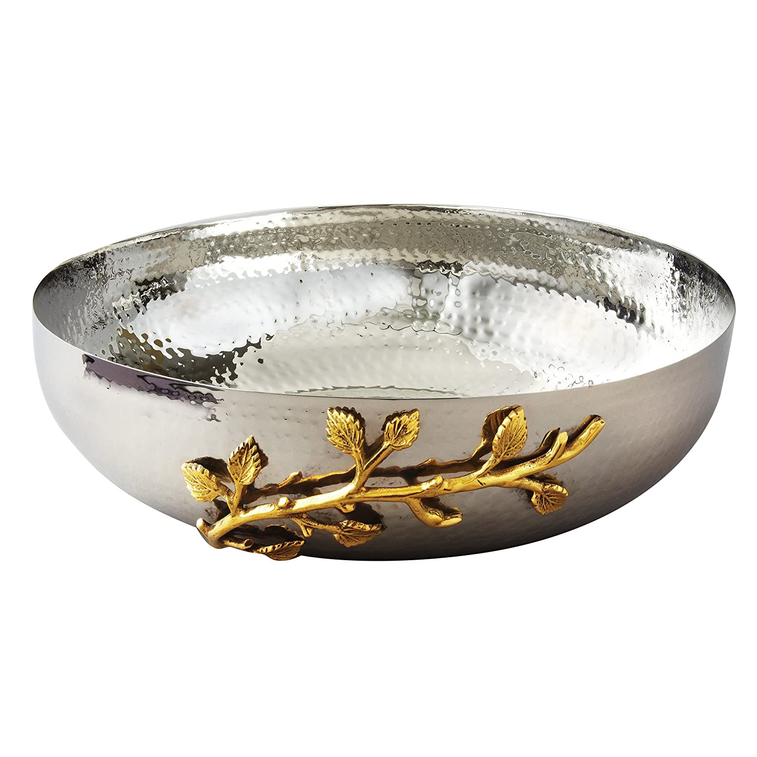 Elegance Golden Vine Hammered Salad Bowl, 12-Inch, Silver/Gold 70020