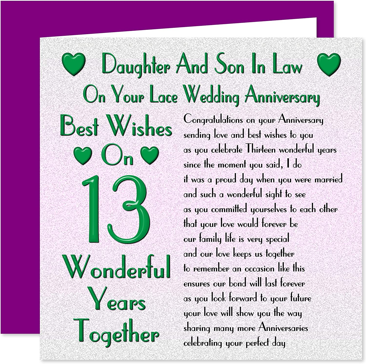 Daughter Son In Law 13th Wedding Anniversary Card On Your Lace Anniversary 13 Years Sentimental Verse Amazon Co Uk Office Products