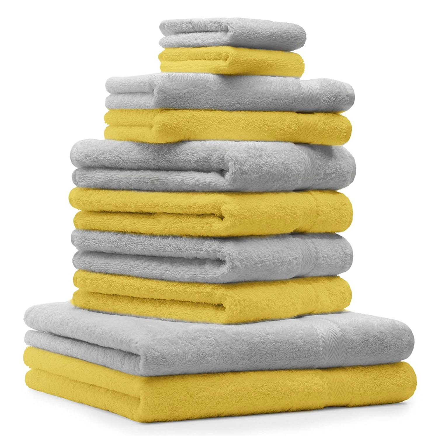 Betz 10 Piece Towel Set CLASSIC 2 Face Cloths 30x30 cm 2 Guest Towels 30x50 cm 4 Hand Towels 50x100 cm 2 Bath Towels 70x140 cm 100% Cotton colour silver grey and yellow