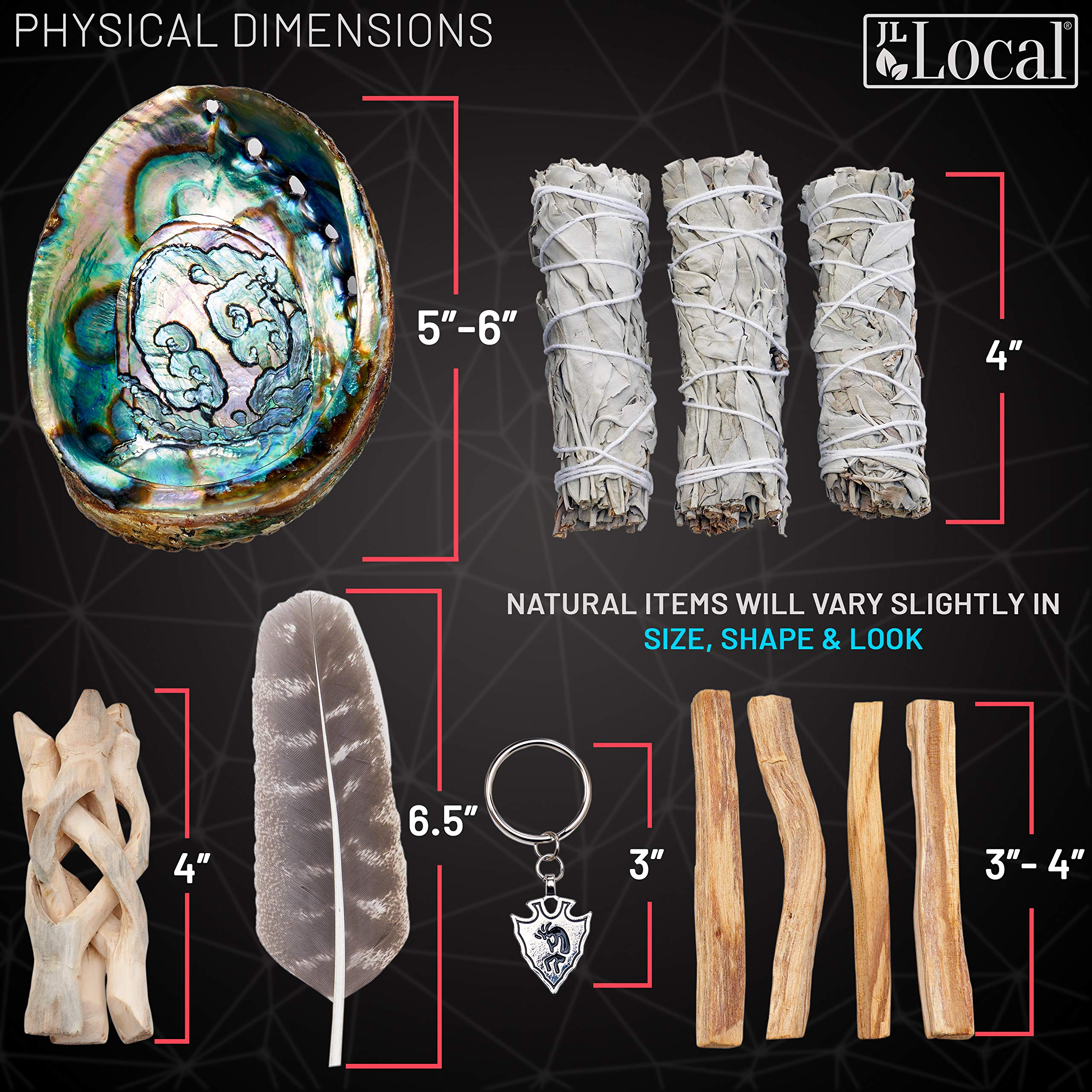 JL Local Smudge Kit - Sage, Palo Santo, Abalone Shell, Feather + More! Yoga, Meditating, Purify, Cleanse by JL Local (Image #4)