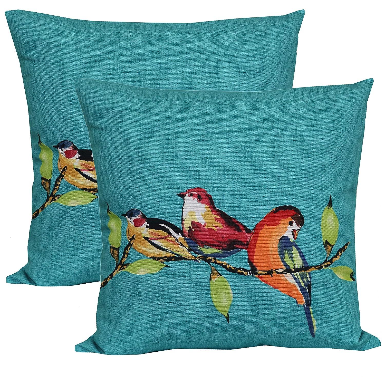 Amazon Com Mainstays Birdie Turquoise Outdoor Toss Pillow Set Of
