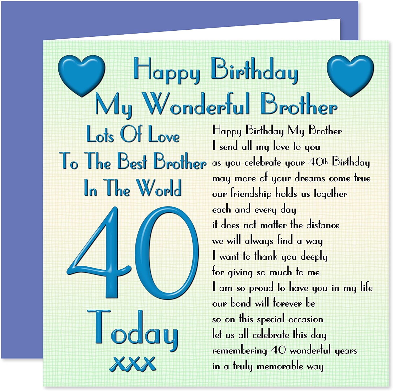 BROTHER 40TH  BIRTHDAY  CARD