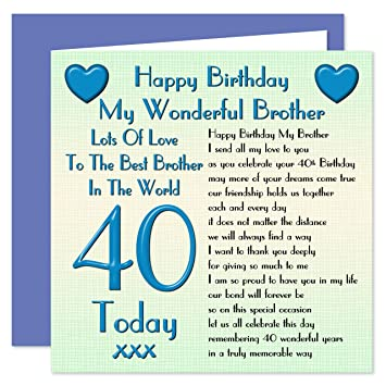 Brother 40th Happy Birthday Card Lots Of Love To The Best Brother