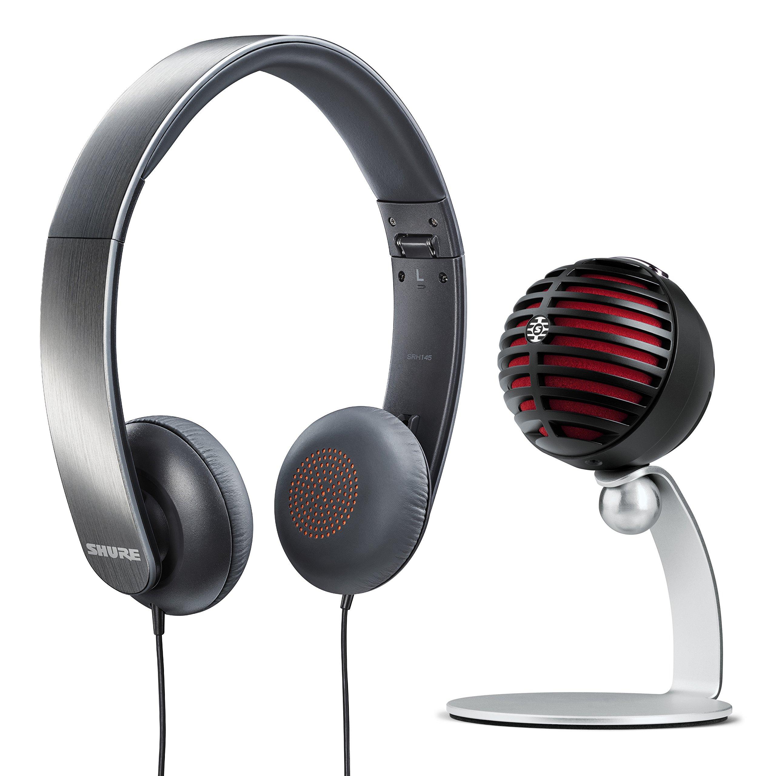Paquete de juegos Shure con micrófono de escritorio USB MV5 (negro) y auriculares SRH145
