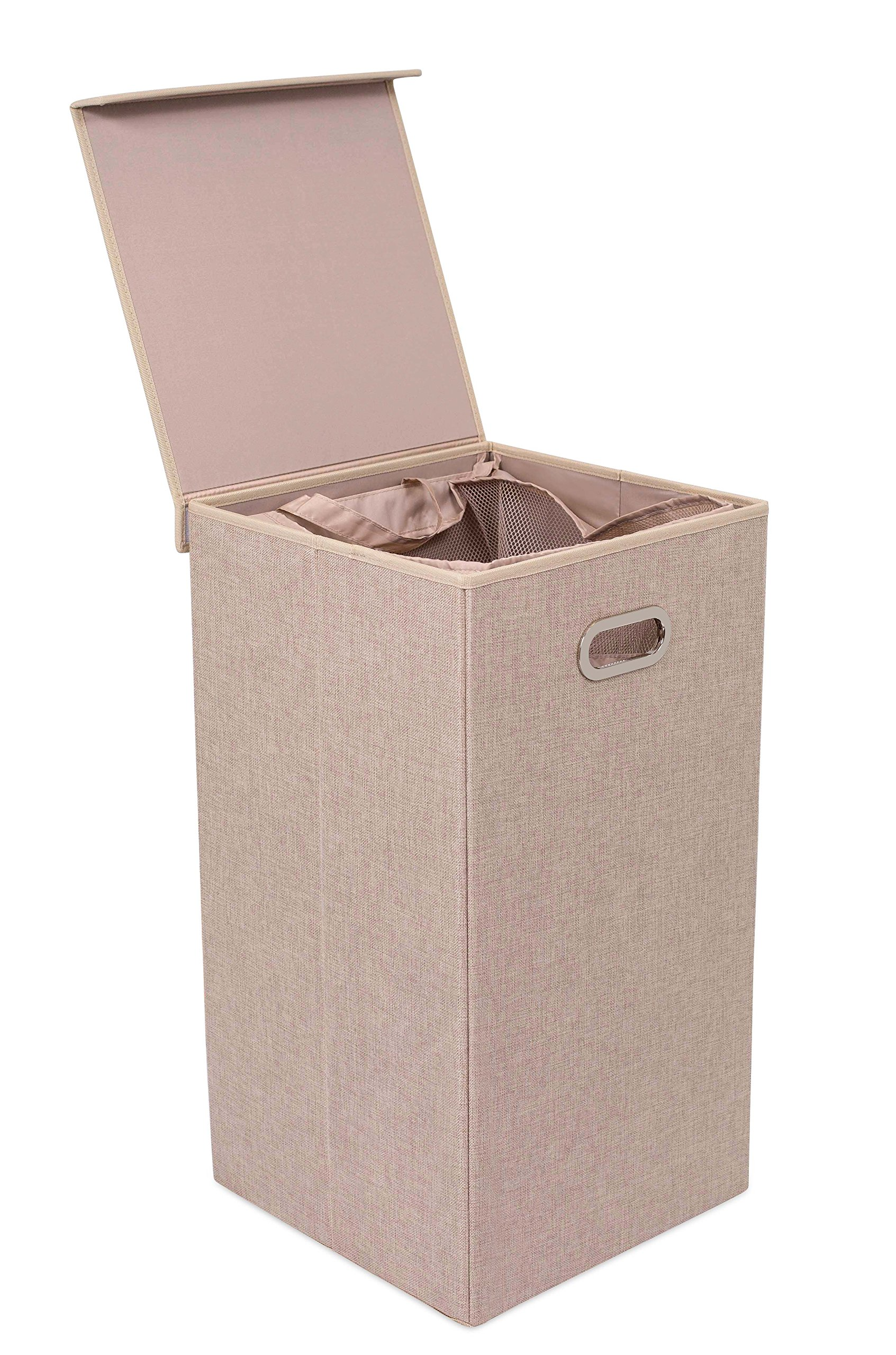 BirdRock Home Single Laundry Hamper with Lid and Removable Liner - Linen - Easily Transport Laundry - Foldable Hamper - Cut Out Handles by BIRDROCK HOME