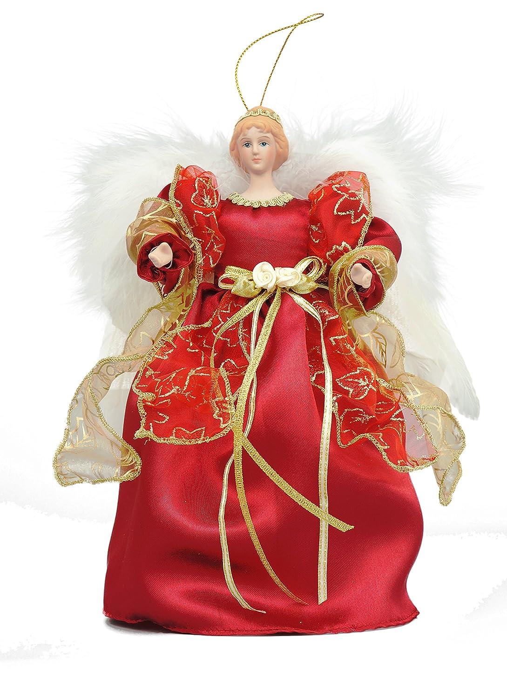 Cosette Lifelike Angel Porcelain Doll Tree Topper Christmas Decor Ornament Dress Wing (White) CHAMEL GIFTS CMPV