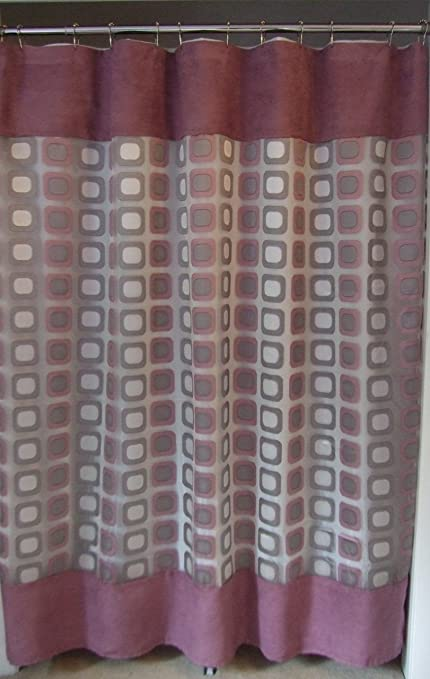 Amazon Square Geometric Sheer Fabric Shower Curtain Faux Suede