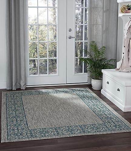 Varrock Border Teal Rectangle Easy-Care Indoor Outdoor Area Rug, 5 x 7