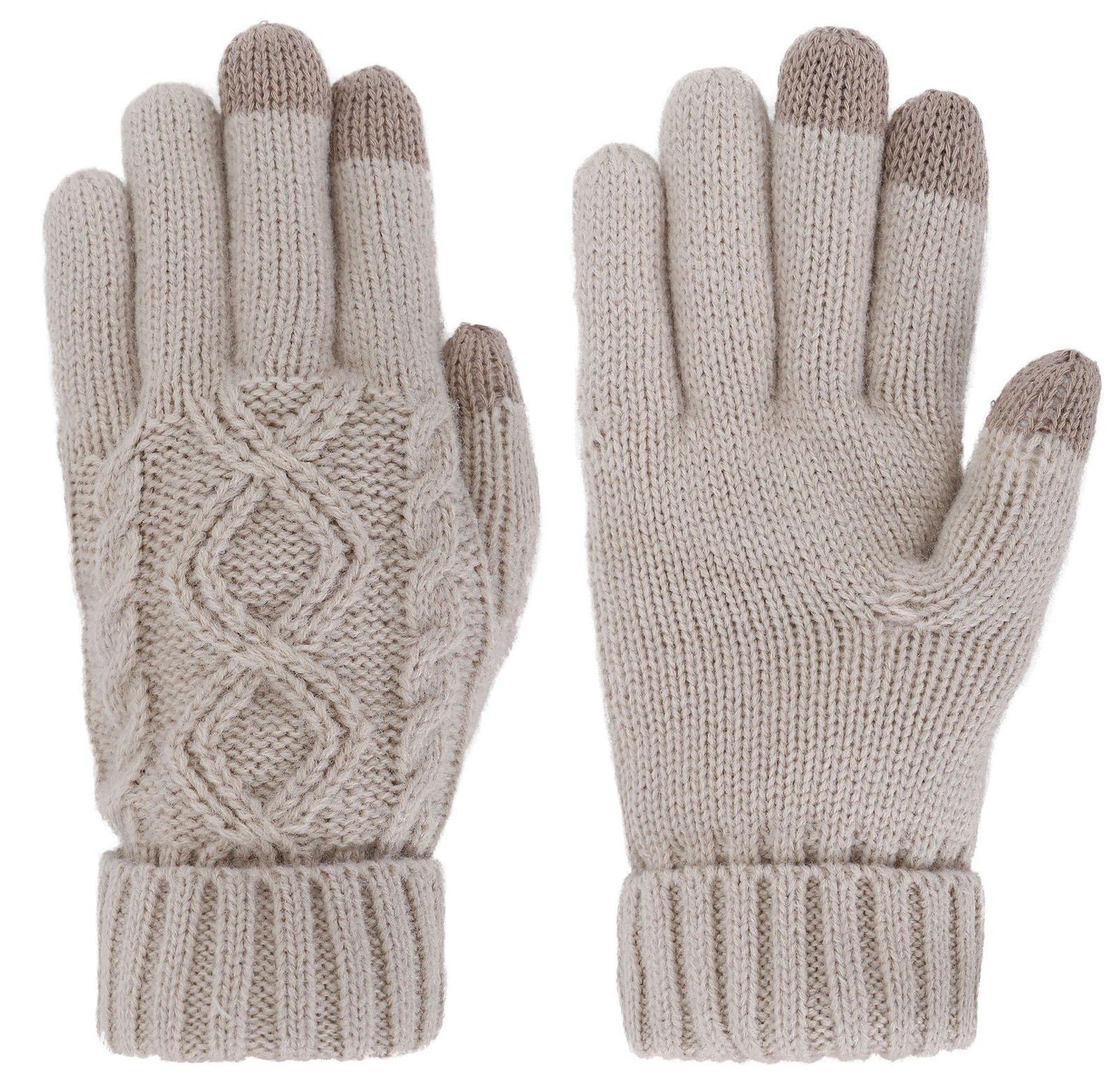 Women's Cable Knit 3 Finger Touchscreen Winter Mitten Gloves,Latte
