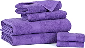 Ample Decor Luxury Towel Set, 100% Cotton Hotel and Spa Quality Quick Dry Super Soft High Absorbent Kitchen and Bathroom Towel Set (Purple, 6 Pcs Combo)
