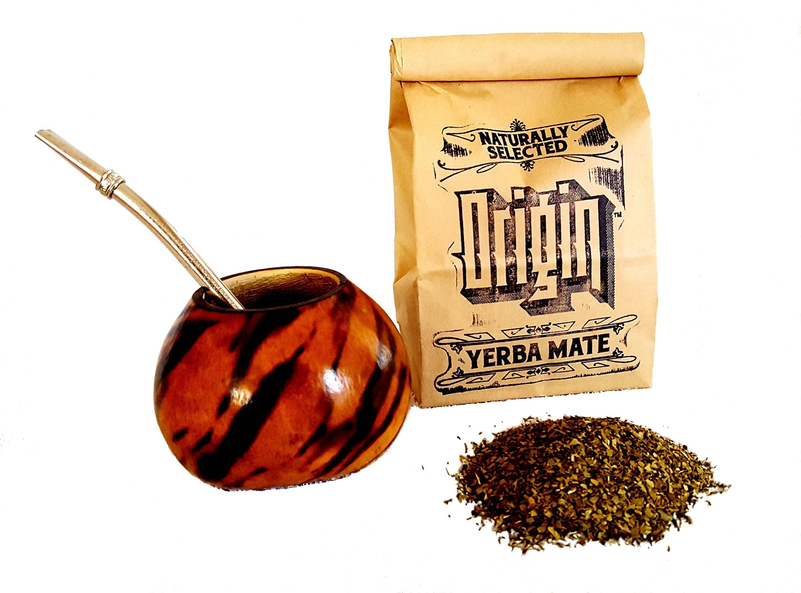Argentina Gourd, Bombilla (Straw) and ORIGIN Traditional Yerba Mate Tea Value Set - Organic, Free Trade, Herbal, Loose Leaf, Rich Buttery Smooth!