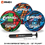 AND1 Mini Basketball Set for Kids (Deflated w/ Pump Included): - 3 Pack of Premium Youth Size Basketballs, Easy to Grip, Shoo