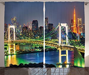 """Ambesonne Landscape Curtains, Tokyo Skyline with Tokyo Tower and Rainbow Bridge Tokyo Japan Night Scenery View, Living Room Bedroom Window Drapes 2 Panel Set, 108"""" X 84"""", Green Navy"""