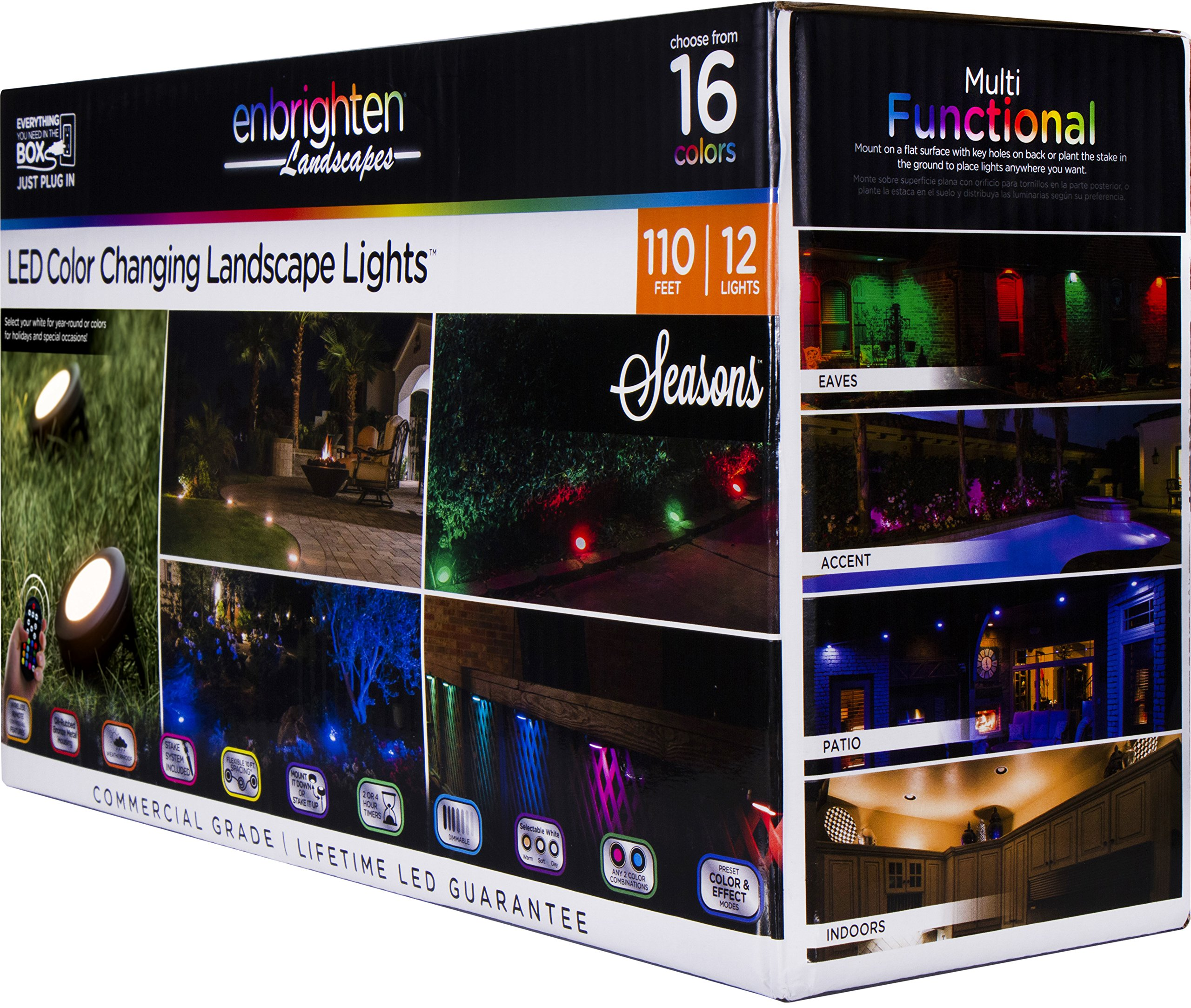 Enbrighten 41017 Seasons LED Landscape Lights (110ft.), Selectable White & Color Changing, 12 Lifetime Pucks, Wireless Remote, Outdoor, Commercial Grade, Weatherproof, Spotlight, Garden, Path Light by Enbrighten (Image #1)