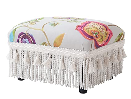 Jennifer Taylor Home 2318-798 Decorative Jennifer Taylor Fiona Collection  Traditional Upholstered Rayon Blend Footstool with Fringe & Trim Tassels,