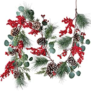 DearHouse 6 FT Red Berry Christmas Garland with Berries Pine Cones Spruce Eucalyptus Leaves Winter Greenery Garland for Holiday Season Mantel Fireplace Table Runner Centerpiece Decor