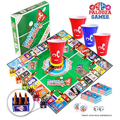 DRINK-A-PALOOZA Board Games: Party Drinking Games for Adults - Game Night Party Games | Fun Adult Beer Games Gift with Beer Pong + Flip Cup + Kings Cup Card Games + More!: Toys & Games