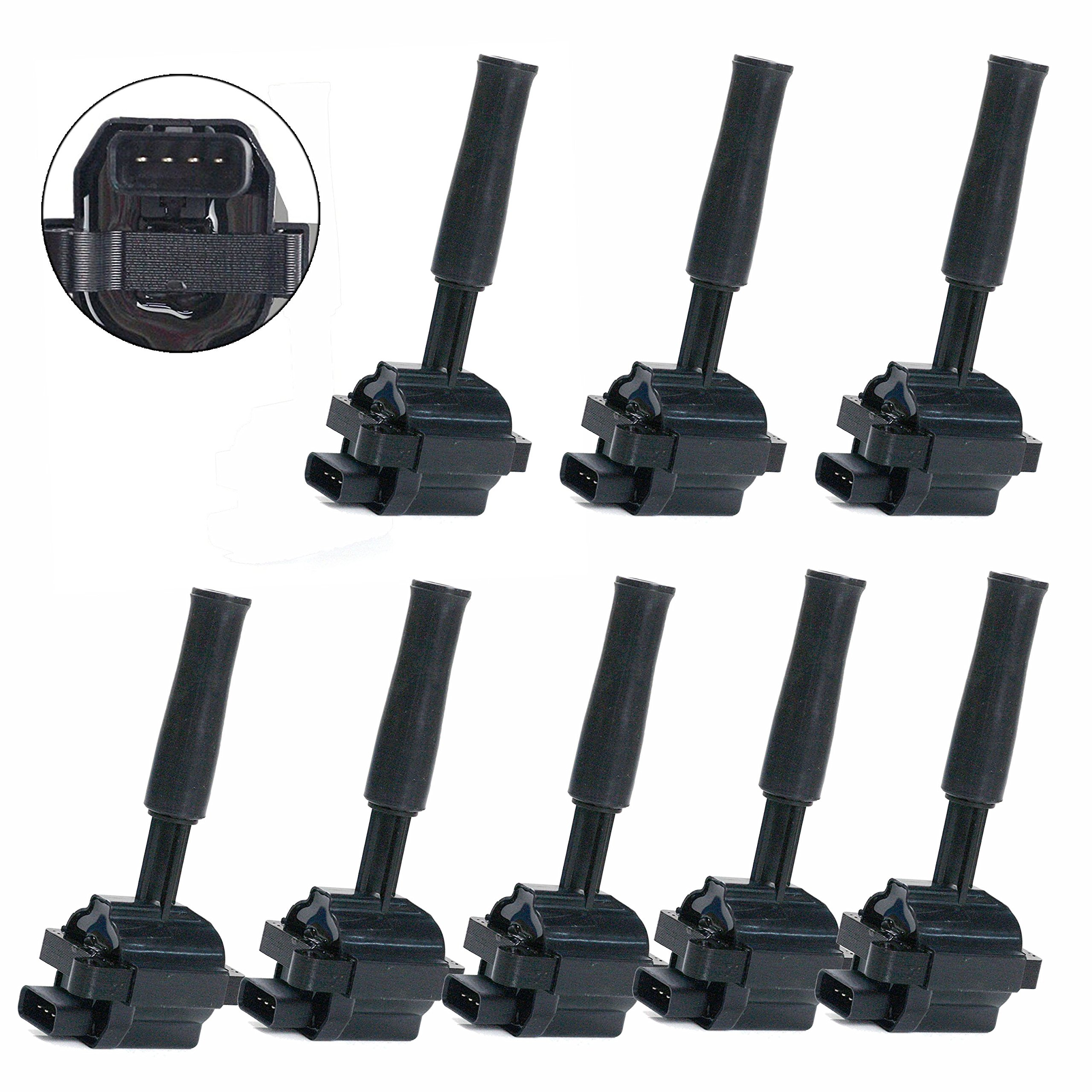Carrep Ignition Spark Coil Coils For Jaguar Xj8 XJR XKR XK8 Vaden Plas 4.0L UF415 xw93-12029-ab (8 PACK) by Carrep