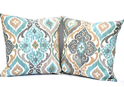 Amazon Com Two Indoor Outdoor Ikat Print Pillow Cover 16x16