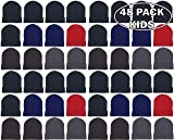 48 Pack Kids Winter Beanies, Warm Cold Weather Hats for Boys Girls Children, School Outdoors, Bulk Gift, Wholesale