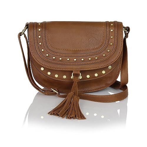 9669cecac8e3 Cognac Studded Vegan Leather Saddle Bag Boho Crossbody with Suede Tassels