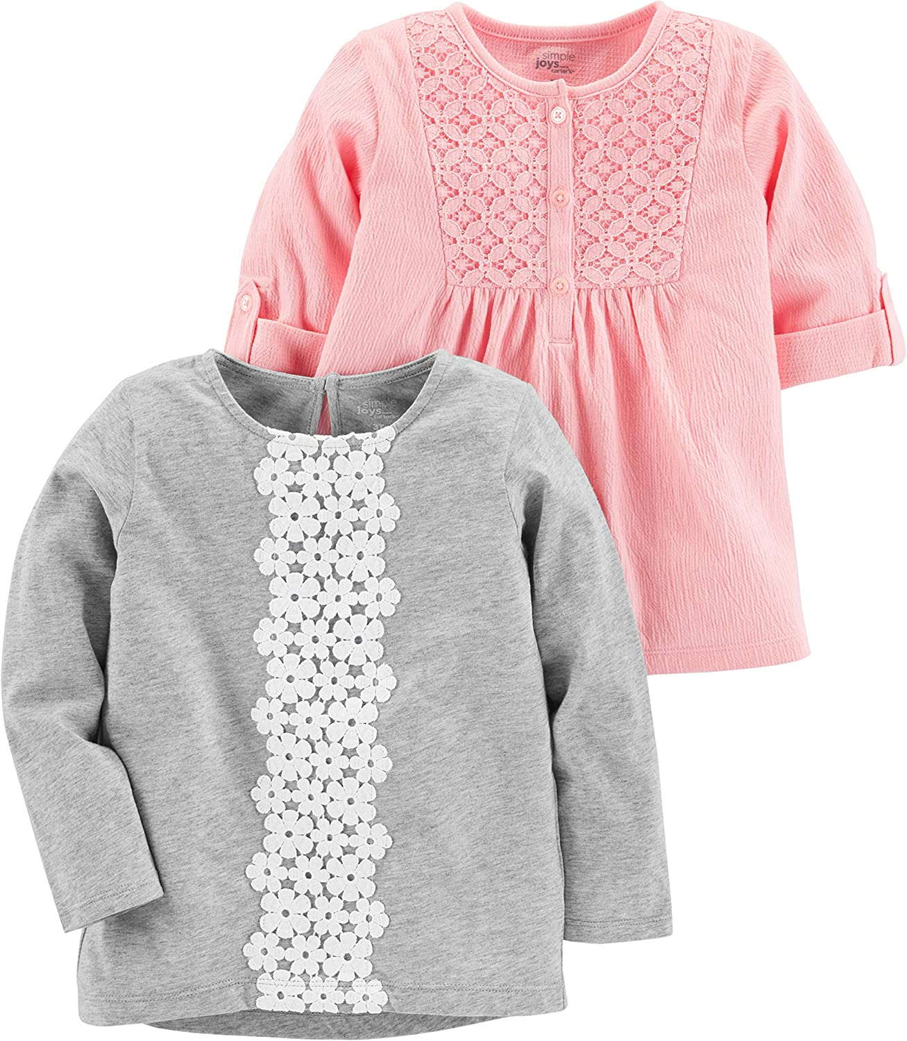 Simple Joys by Carters Toddler Girls 2-Pack Long Sleeve Tops