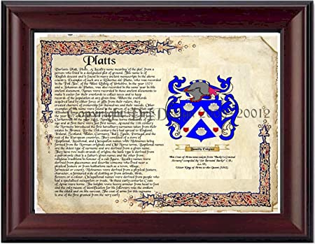 Platts Coat of Arms/ Family Crest on Fine Paper and Family