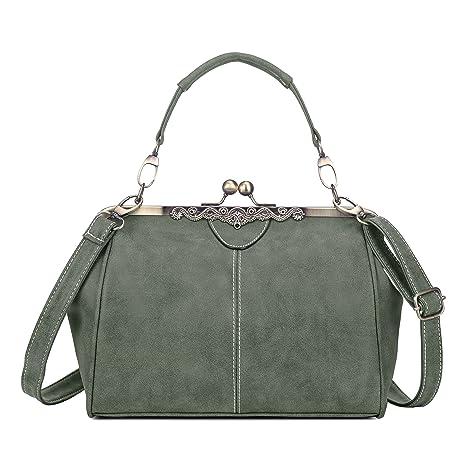 a47ddb2a2034a Vintage PU Leder Handtaschen Damen Henkeltaschen Umhängetaschen  Schultertaschen Taschen für Frauen Mädchen - Armee Grau-