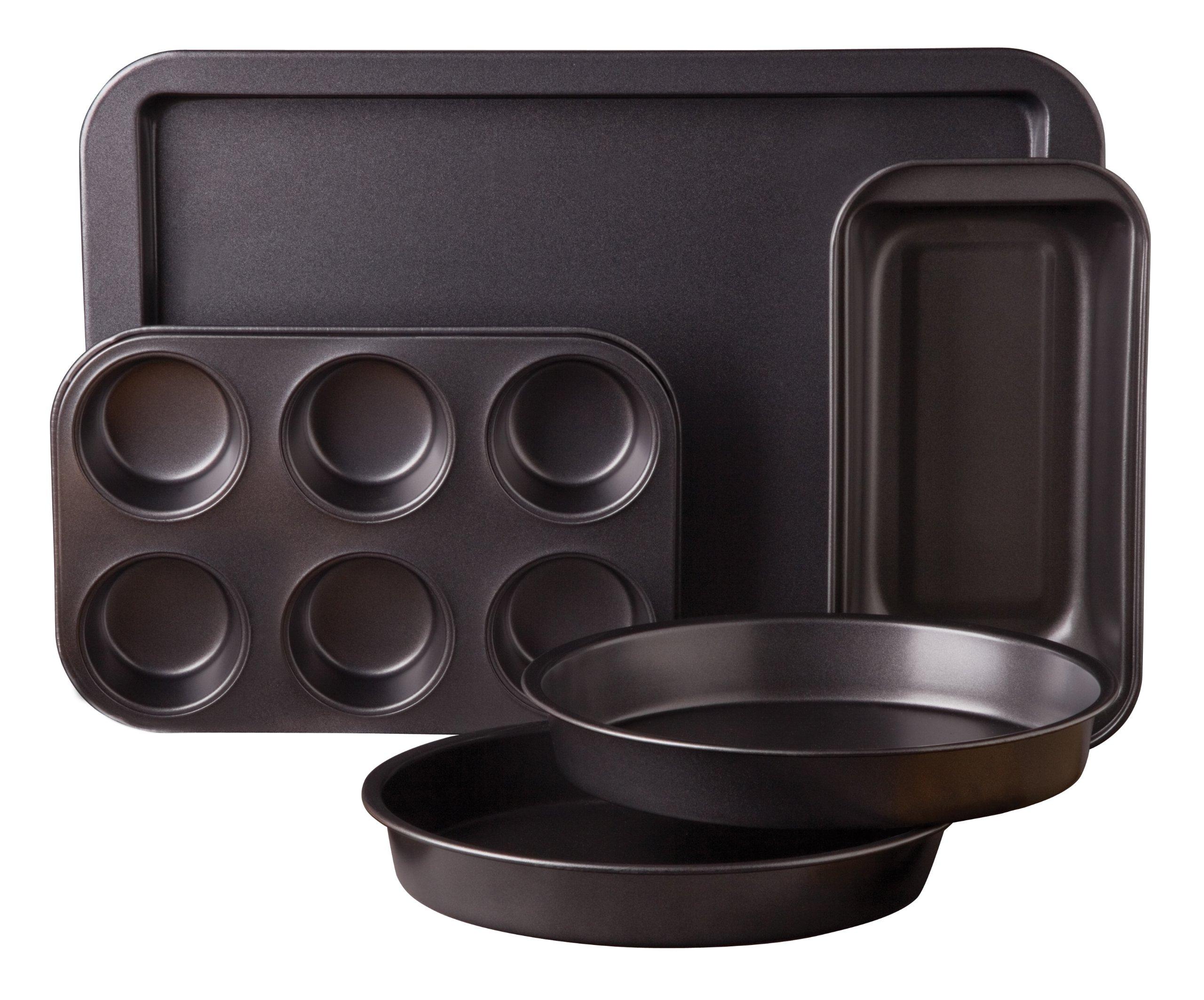 Sunbeam Kitchen Bake 5-Piece Bakeware Set, Carbon Steel by Gibson