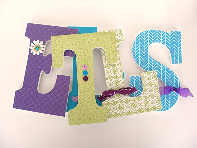 Amazon.com: Teal, Purple, and Lime Green Custom Wood Letters ...