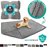 PetAmi WATERPROOF Dog Blanket for Bed, Couch, Sofa | Waterproof Dog Bed Cover for Large Dogs Puppies | Grey Sherpa Fleece Pet Blanket Furniture Protector | Reversible Microfiber | 80 x 55 (Light Grey)