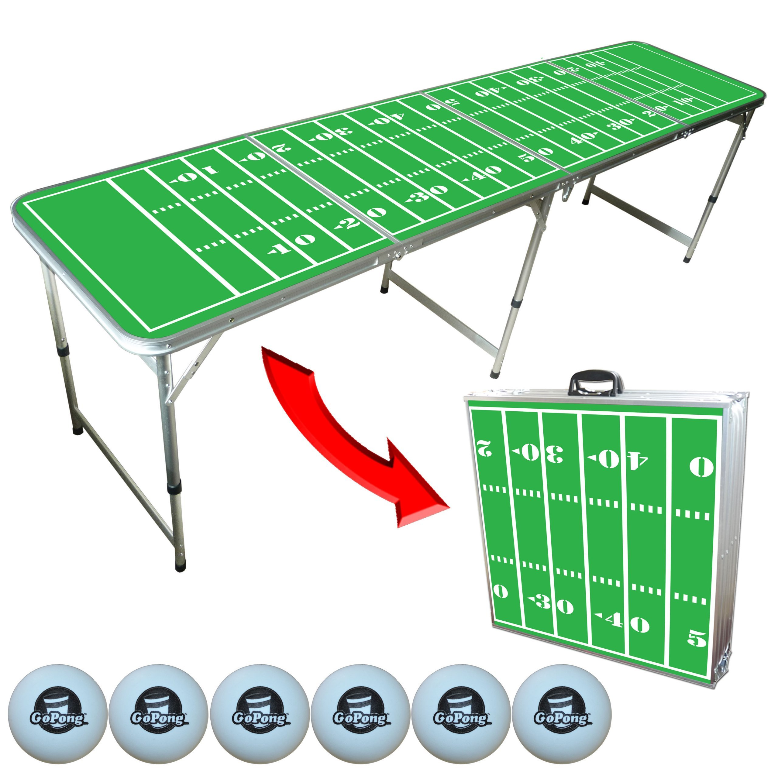 The Original Football Beer Pong Table, 2x8, 8ft Tailgate Table, Aluminum, All Weather, Lightweight, Portable