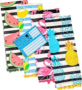 DBD Home Kitchen Towel Set of 4 16X28 Pom Pom Striped Decorative Fun Cute Printed Flamingo Watermelon Lemon Pineapple - with Handy Kitchen Measurement Conversion Magnet