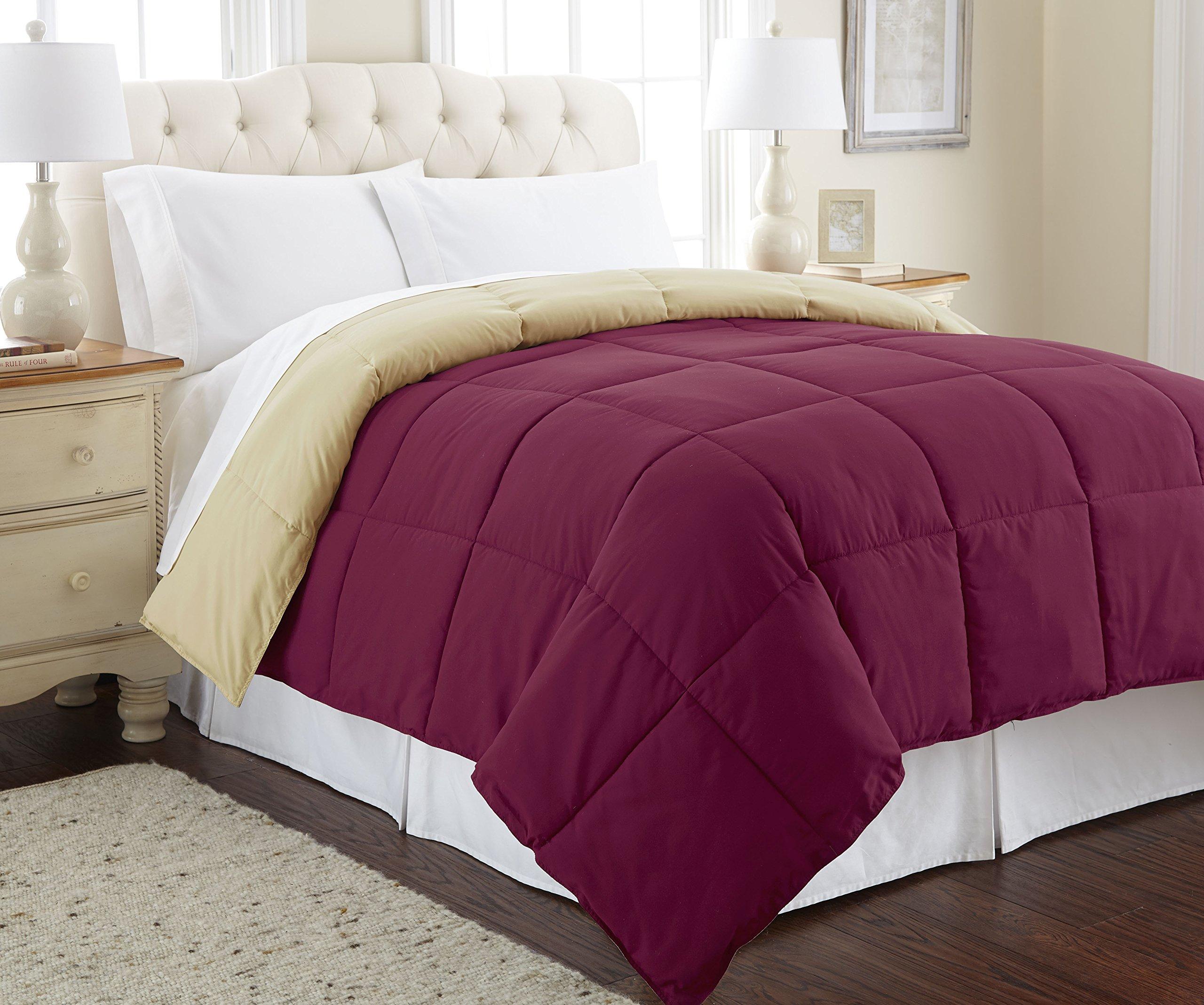 Amrapur Overseas | Goose Down Alternative Microfiber Quilted Reversible Comforter/Duvet Insert - Ultra Soft Hypoallergenic Bedding - Medium Warmth for All Seasons - [Queen, Anemone/Wheat]
