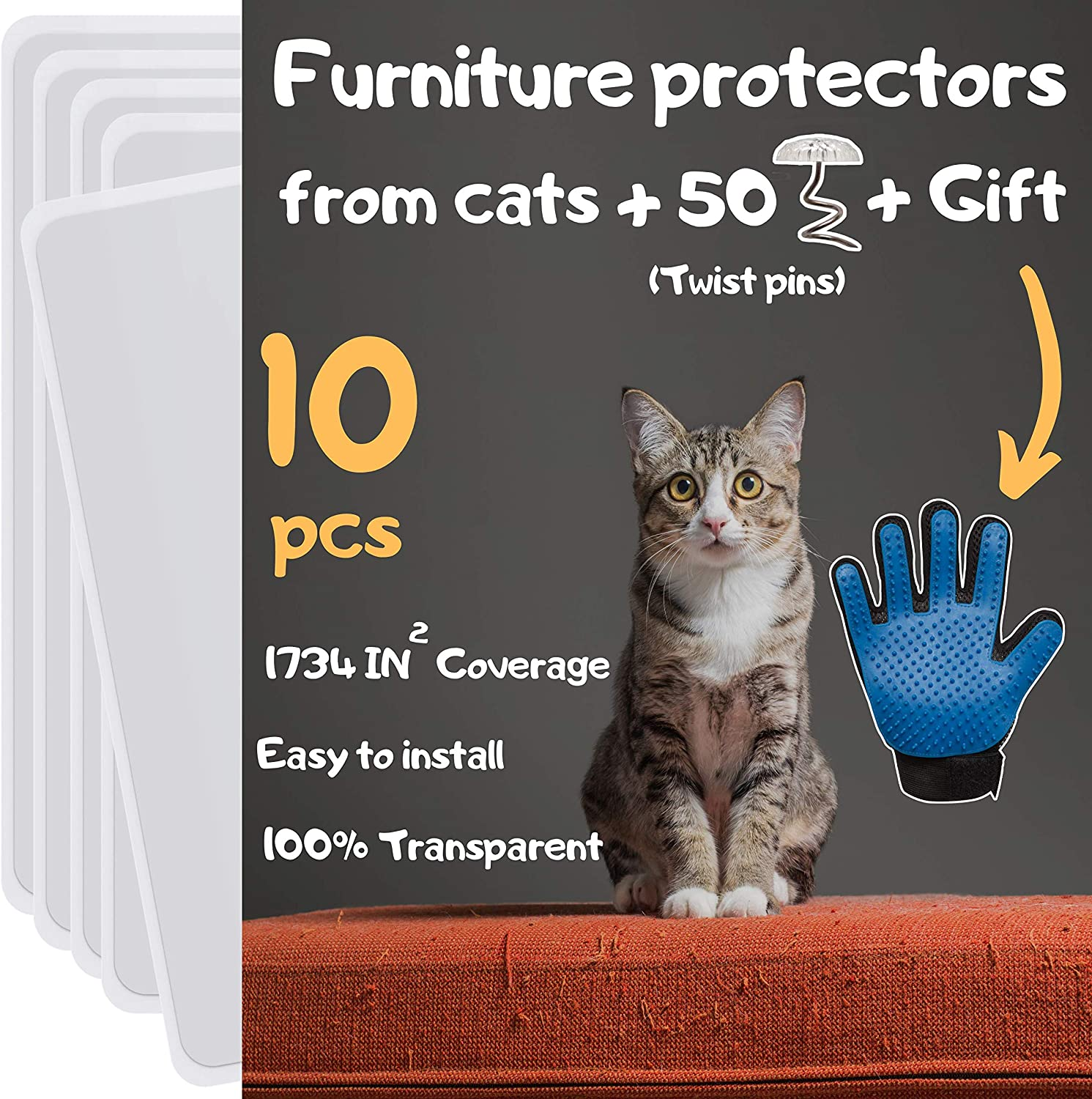 Cat Furniture Protector 10 Pack Cat Scratch Furniture Protector Furniture Protectors From Cats Cat Scratch Deterrent Couch Protectors From Cats Scratching Includes Cat Glove Pet Supplies