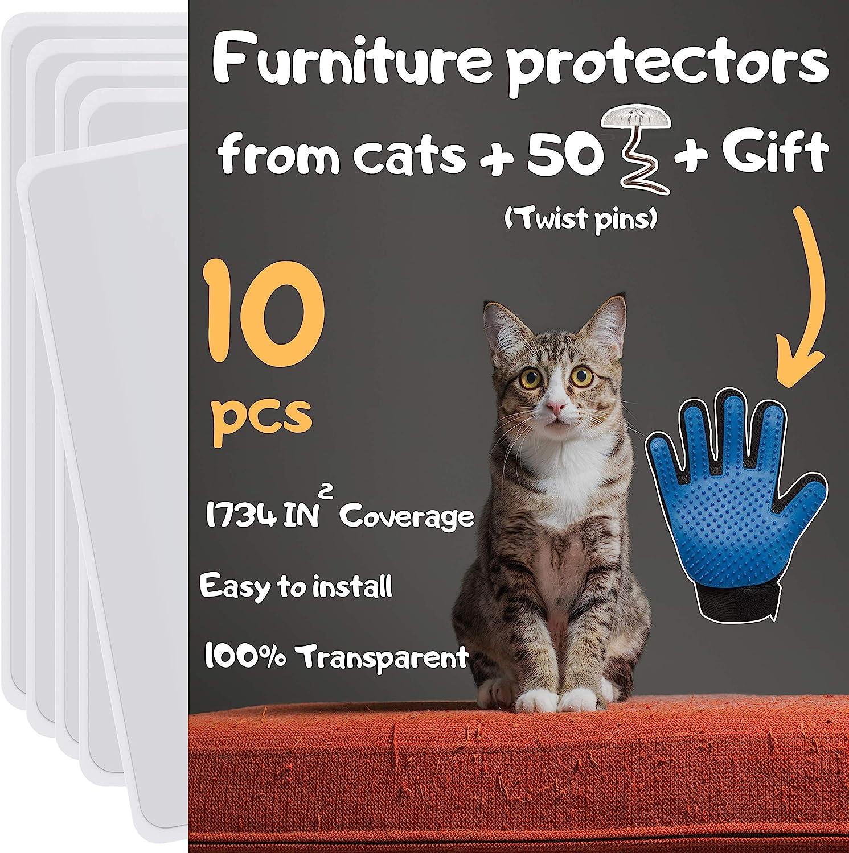 Cat Furniture Protector 10 Pack Cat Scratch Furniture Protector Furniture Protectors From Cats Cat Scratch Deterrent Couch Protectors From Cats Scratching Includes Cat Glove Pet Supplies