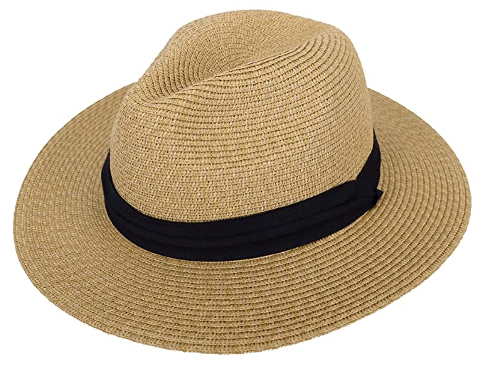 87e9dd93 Panama Straw Hat Men Women's Wide Brim Packable Roll up Fedora Beach Sun Hat,  Brown