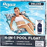 Aqua Deluxe Resort Quality Monterey Hammock, 4-in-1 Multi-Purpose Inflatable Pool Float (Saddle, Lounge Chair, Hammock, Drifter), Washable Premium Fabric, Stow-n-Go Tote Bag, Antigua Blue
