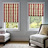 """Flamingo P Thermal Insulated Blackout Roman Window Shade - Rod Pocket- 24"""" W x 72"""" H - (1 Panel) - Linen Red Plain"""