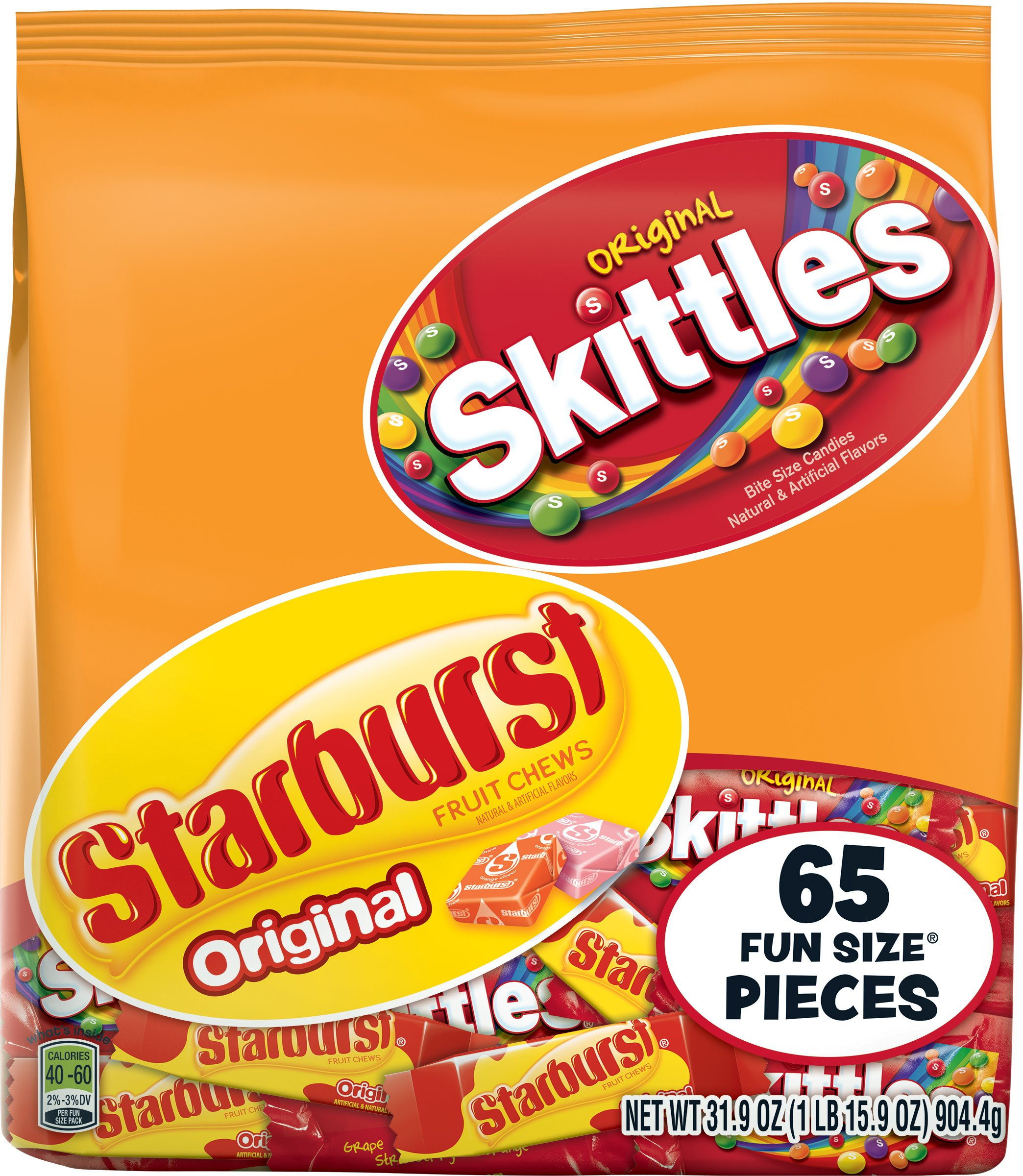 Skittles and Starburst Original Candy Bag, 65 Fun Size Pieces, 31.9 ounces