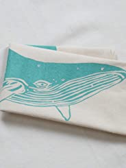 Tea Towel - Organic Cotton - Whale Design in Mint Green