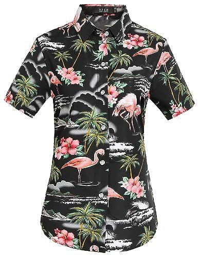 SSLR Camisa Hawaiana Mujer Blusa Flamencos Floral Casual Para Verano