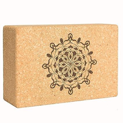 Sukha Designs Natural Cork Handcrafted and Custom Engraved Yoga Block/Yoga Support Brick, Single Block (Mandala)