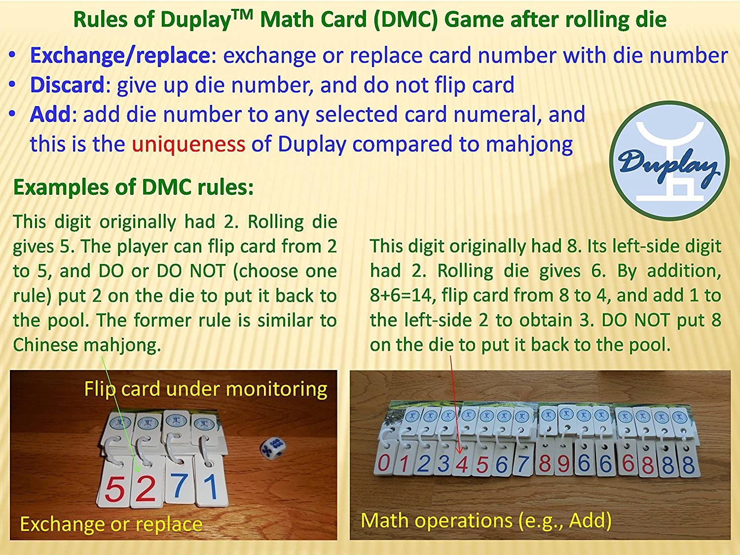 Amazon com: Duplay Math Card Game (Extra Large, without