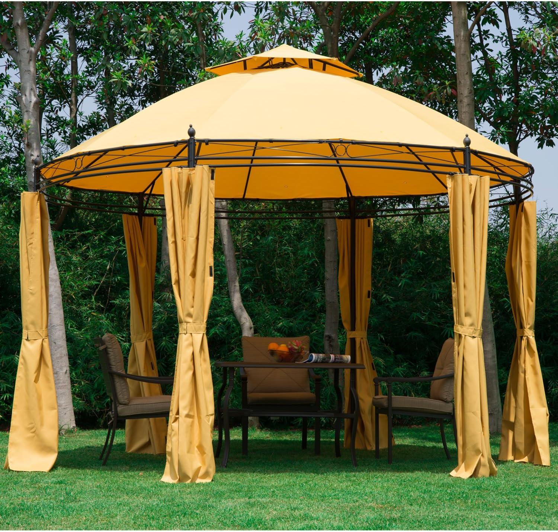 Acero Outsunny Gazebo toldo tienda de campaña jardín 2 Tier techo ...