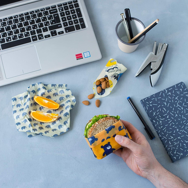 Fruta y Pan Zero Waste Alternativa Papel Bocadillo Reutilizable Cubiertas Lavables para Cuenco Ecol/ógicas Beeswax Wrap de Tela Envoltorio Cera de Abeja para Alimentos 1 M/ètre Rollo para Queso