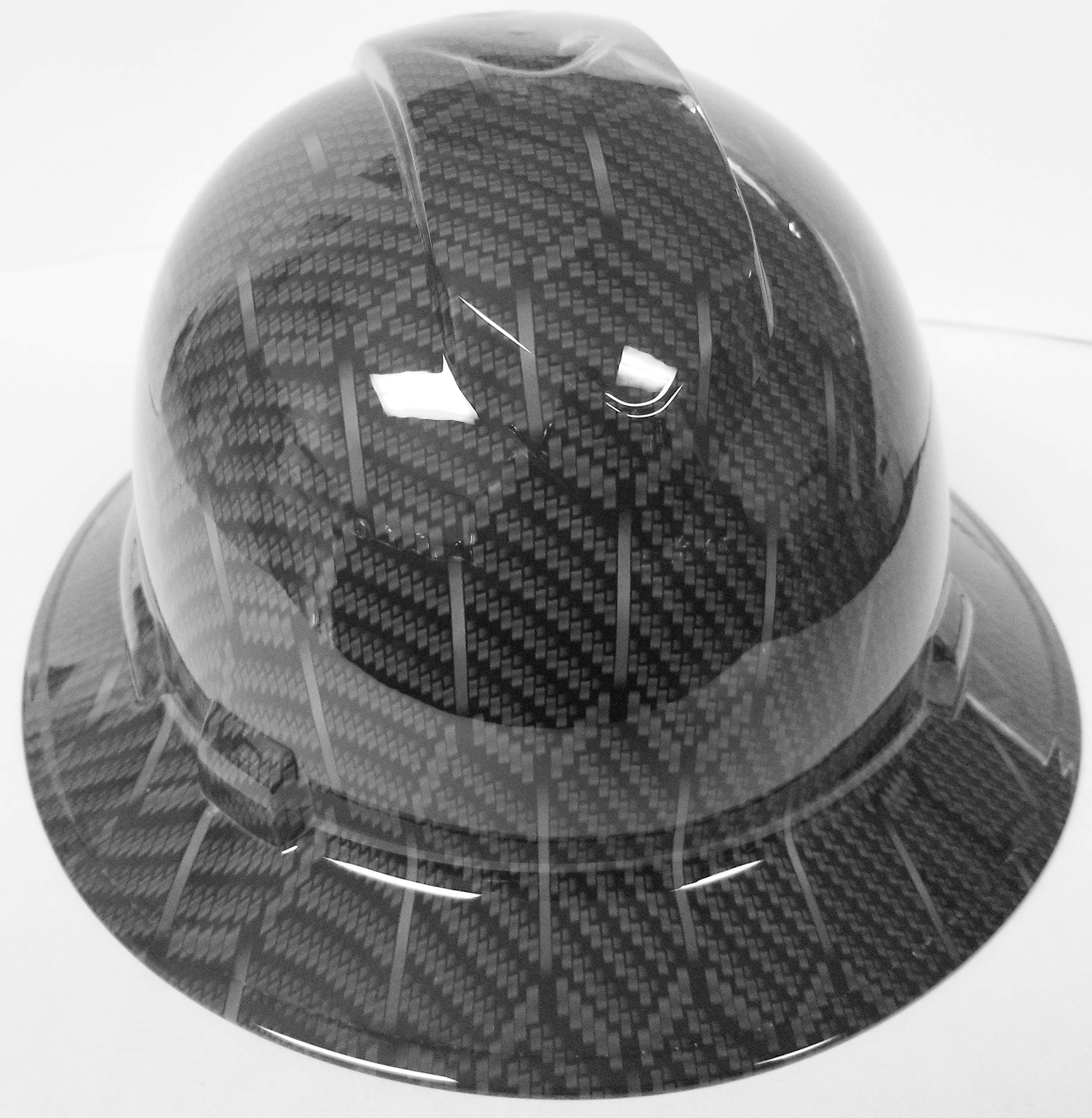 Wet Works Imaging Customized Pyramex Full Brim HEX Weave Carbon Fiber 3D Limited Hard HAT with Ratcheting Suspension Custom LIDS Crazy Sick Construction PPE