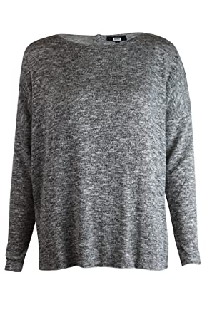 1d6b92c0aa2977 Highstreet Outlet Womens Ladies Grey Marl Relaxed Loose Oversized Button  Back Fine Jumper XS - XL (S): Amazon.co.uk: Clothing