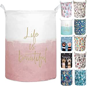 Merdes 19.7'' Waterproof Foldable Laundry Hamper, Dirty Clothes Laundry Basket, Linen Bin Storage Organizer for Toy Collection (Life Pink)